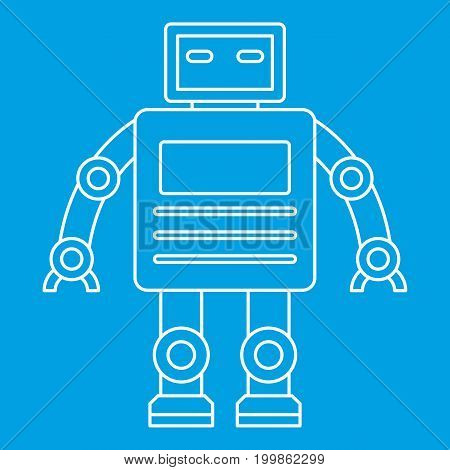 Robot with a square head icon blue outline style isolated vector illustration. Thin line sign