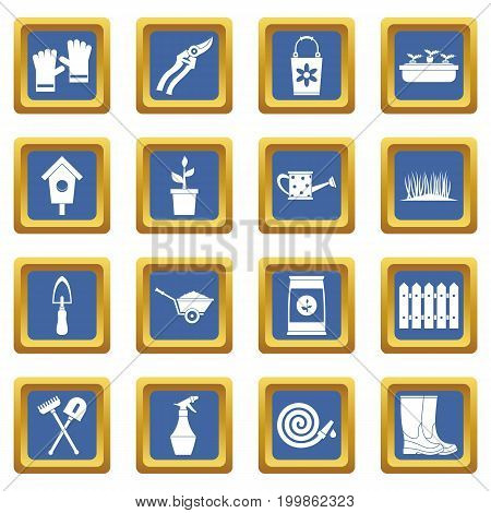 Gardening icons set in blue color isolated vector illustration for web and any design