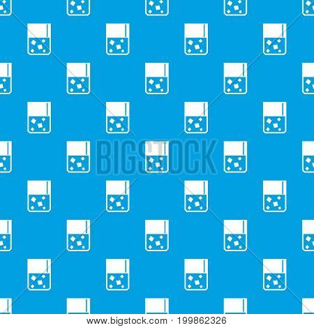 Glass of whiskey and ice pattern repeat seamless in blue color for any design. Vector geometric illustration