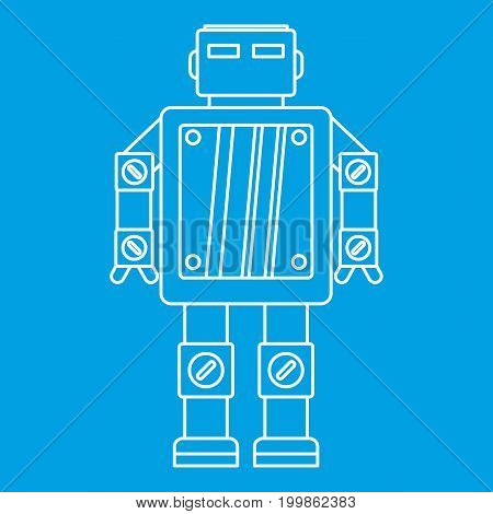 Artificial intelligence robot icon blue outline style isolated vector illustration. Thin line sign