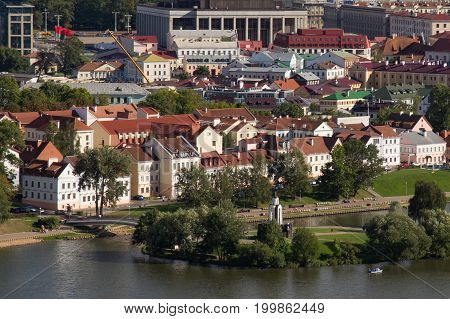 Aerial view of the Trinity Hill (another name Trinity Suburb or Trojeckaje Pradmiescie). Is the oldest surviving district of Minsk Belarus. The historic neighbourhood situated near Svislach River.