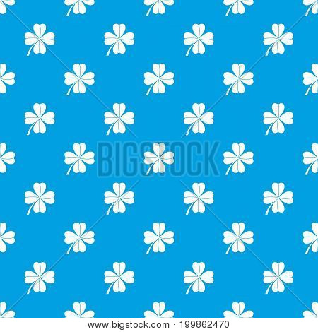 Four leaf clover pattern repeat seamless in blue color for any design. Vector geometric illustration