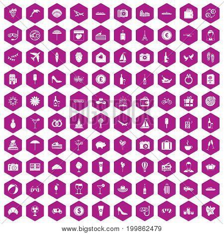 100 honeymoon icons set in violet hexagon isolated vector illustration