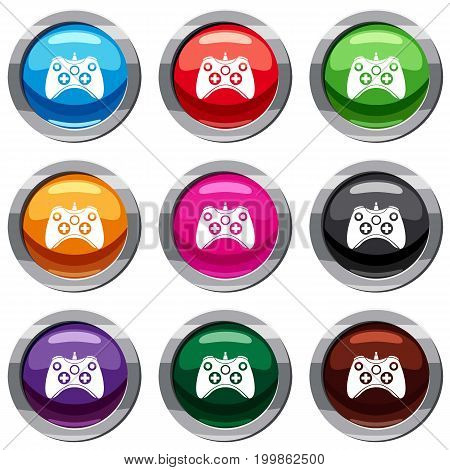 Video game controller set icon isolated on white. 9 icon collection vector illustration