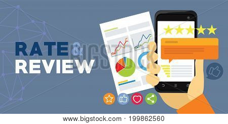 application rating and review from user vector illustration