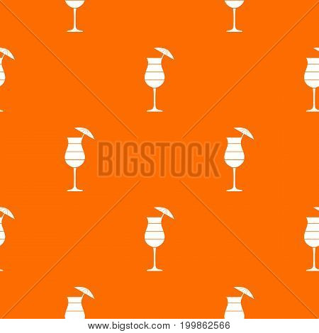 Layered cocktail with umbrella pattern repeat seamless in orange color for any design. Vector geometric illustration