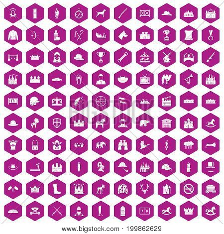 100 horsemanship icons set in violet hexagon isolated vector illustration