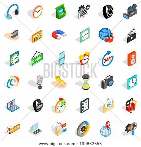 Device icons set. Isometric style of 36 device vector icons for web isolated on white background