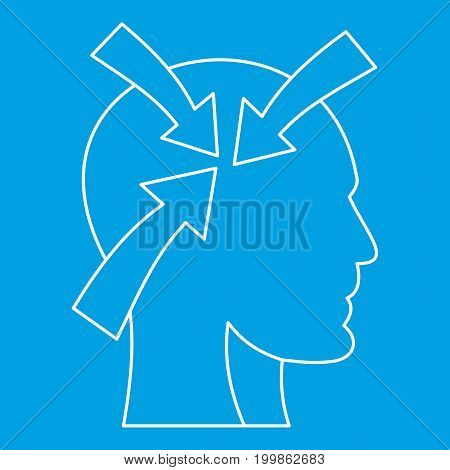 Arrows inside human head icon blue outline style isolated vector illustration. Thin line sign