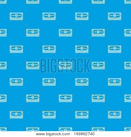 Stack of dollars pattern repeat seamless in blue color for any design. Vector geometric illustration
