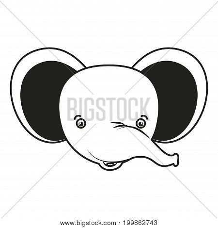white background with monochrome silhouette caricature face elephant vector illustration