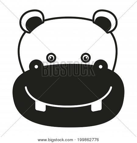 white background with monochrome silhouette caricature face hippopotamus vector illustration