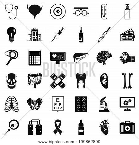 Diagnostic icons set. Simple style of 36 diagnostic vector icons for web isolated on white background