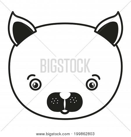 white background with monochrome silhouette caricature face cat vector illustration