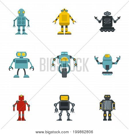 Android icons set. Flat set of 9 android vector icons for web isolated on white background