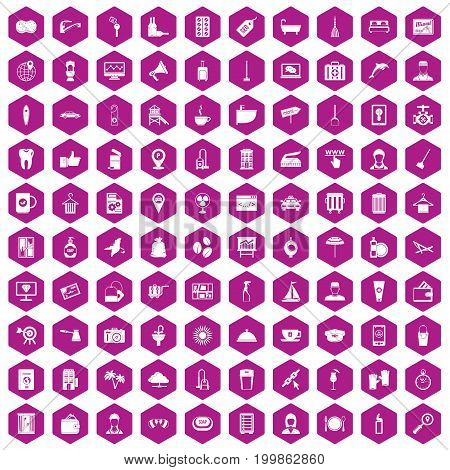 100 hotel services icons set in violet hexagon isolated vector illustration