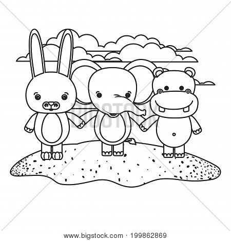 white background with silhouette scene rabbit elephant and hippopotamus cute animals holding hands in grass vector illustration