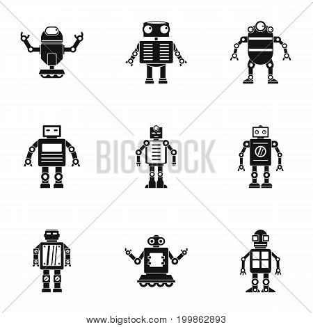 Android icons set. Simple set of 9 android vector icons for web isolated on white background