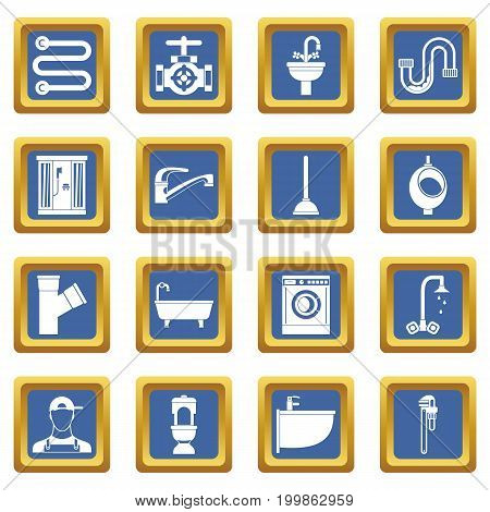 Plumbing icons set in blue color isolated vector illustration for web and any design