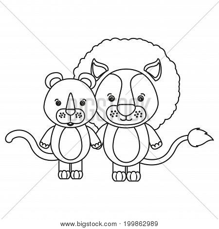 white background with silhouette caricature couple cute lion and lioness animals vector illustration