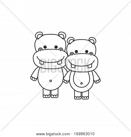 white background with silhouette caricature couple cute animal hippopotamus vector illustration