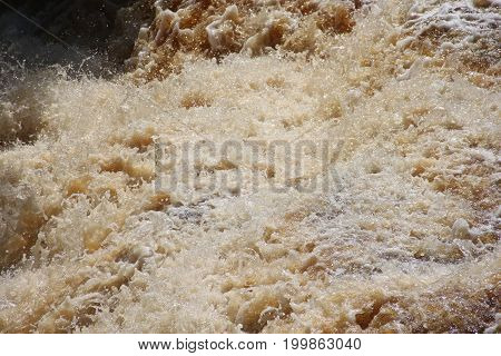 Rushing water of Lower Tahquamenon Falls State Park, Upper Peninsula of Michigan