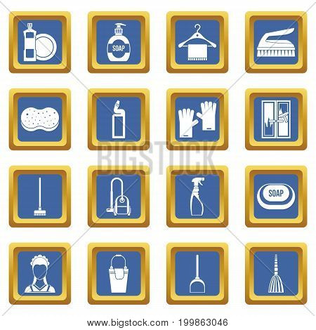 House cleaning icons set in blue color isolated vector illustration for web and any design