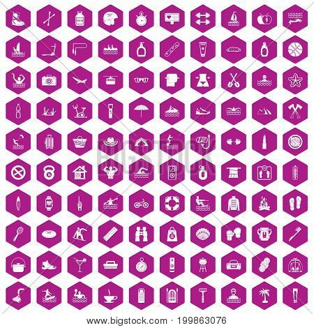 100 human health icons set in violet hexagon isolated vector illustration