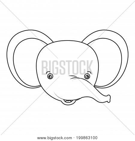 white background with silhouette caricature face elephant cute animal vector illustration