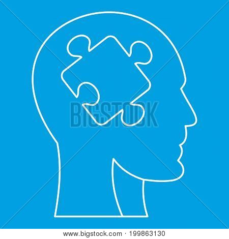 Man head silhouette with puzzle piece icon blue outline style isolated vector illustration. Thin line sign