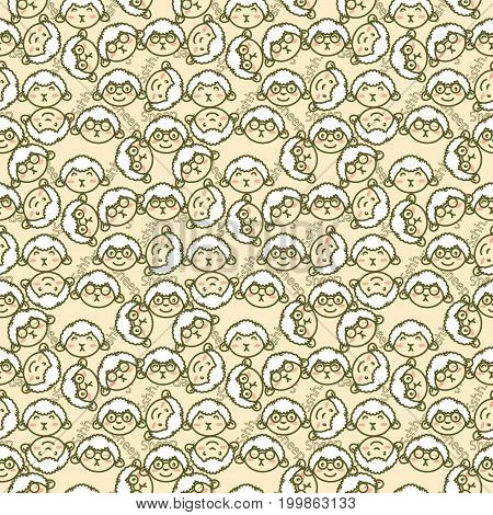 cute background filled with sheep's heads in various mimic and sheep writing