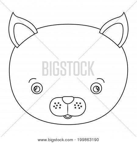 white background with silhouette caricature face cat cute animal vector illustration
