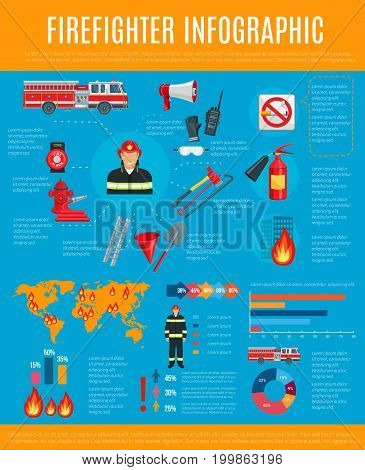 Firefighter infographic. Fireman in helmet and uniform with equipment and tool chart, statistic graph and world map with flame pointers, fire truck, extinguisher, axe, hydrant, water hose and ladder