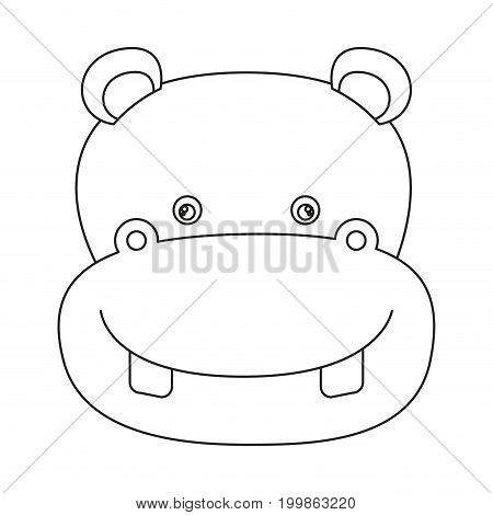 white background with silhouette caricature face hippopotamus cute animal vector illustration
