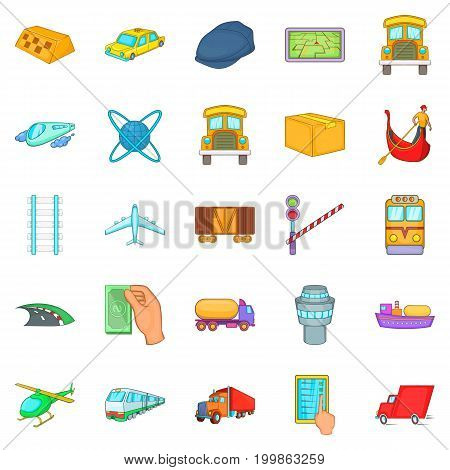 Freight transportation icons set. Cartoon set of 25 freight transportation vector icons for web isolated on white background