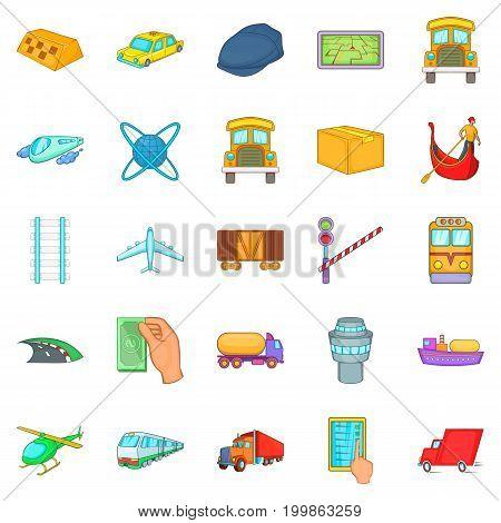 Freight transportation icons set. Cartoon set of 25 freight transportation vector icons for web isolated on white background