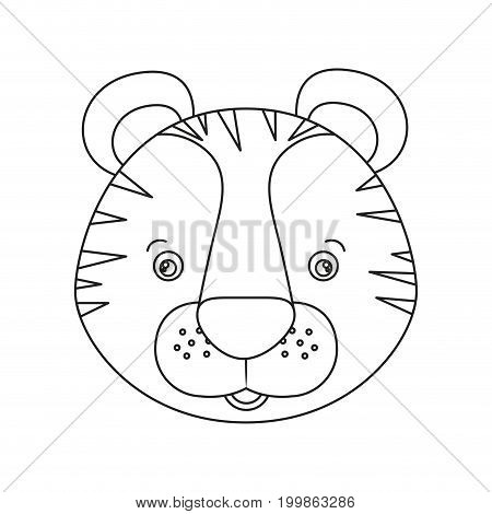 white background with silhouette caricature face tiger cute animal vector illustration