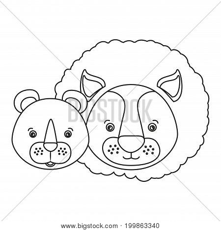 white background with silhouette caricature face couple cute lion and lioness animals vector illustration