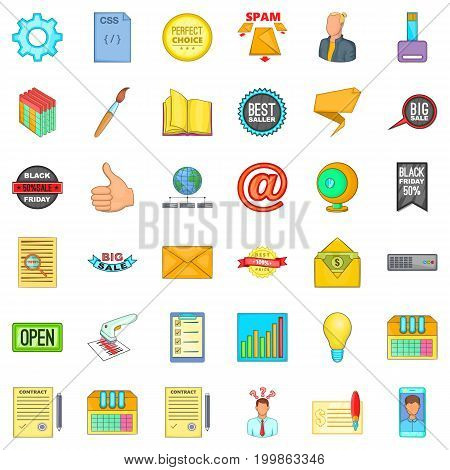Digital business icons set. Cartoon style of 36 digital business vector icons for web isolated on white background
