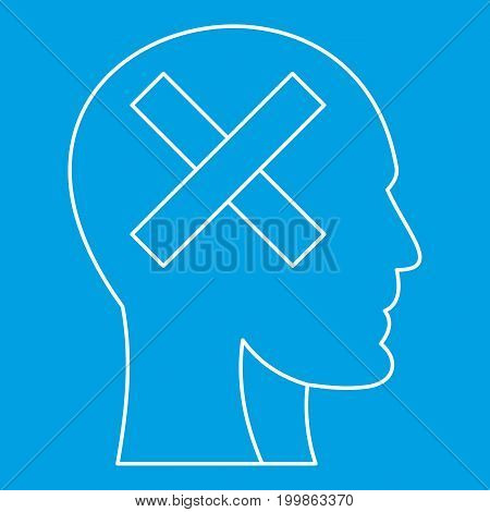 Cross in head icon blue outline style isolated vector illustration. Thin line sign
