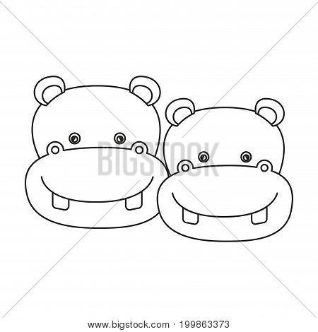 white background with silhouette caricature face couple cute animal hippopotamus vector illustration