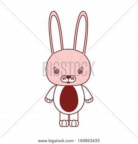 white background with red color silhouette sections of caricature cute rabbit animal vector illustration
