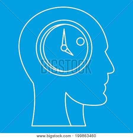 Head with clock inside icon blue outline style isolated vector illustration. Thin line sign