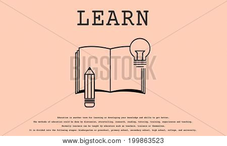 Illustration of book and pencil with learn concept