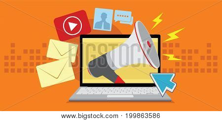 digital marketing with various media vector illustration