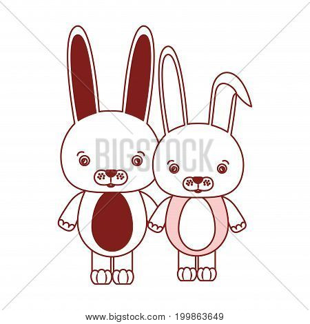 white background with red color silhouette sections of caricature couple cute animal rabbits vector illustration