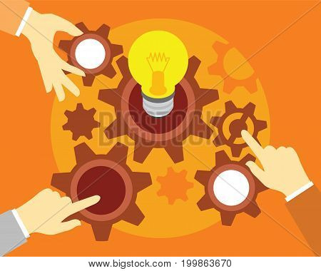 people teamwork with light bulb and gear illustration vector