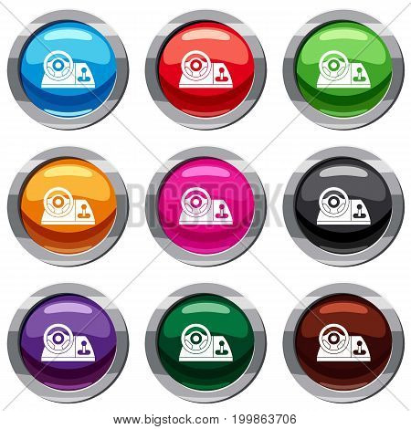 Computer steering wheel set icon isolated on white. 9 icon collection vector illustration