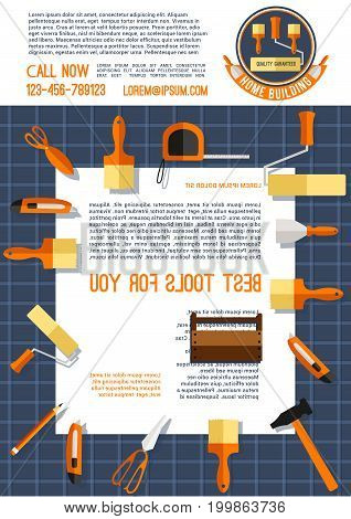Home construction poster template with work tool. Wooden toolbox with hammer, paint brush, roller, spatula, knife, tape measure, scissor and text layout for development and construction company design