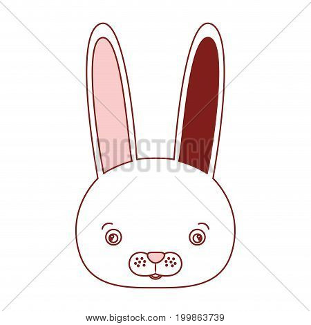 white background with red color silhouette sections of caricature face rabbit cute animal vector illustration
